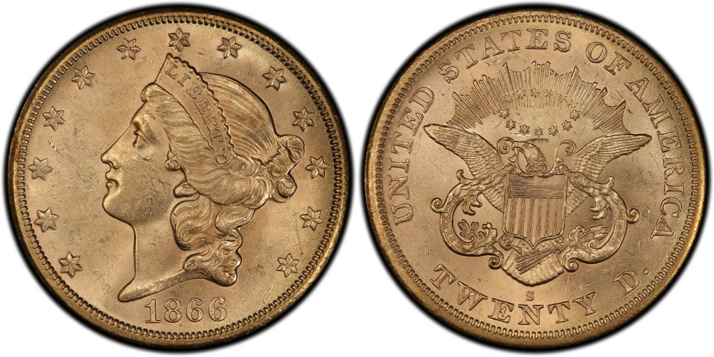 1866-S Liberty Head Double Eagle No Motto; Saddle Ridge-i lelet